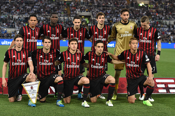 ROME, ITALY - MAY 21: Team of AC Milan prior the TIM Cup match between AC Milan and Juventus FC at Stadio Olimpico on May 21, 2016 in Rome, Italy.  (Photo by Giuseppe Bellini/Getty Images)