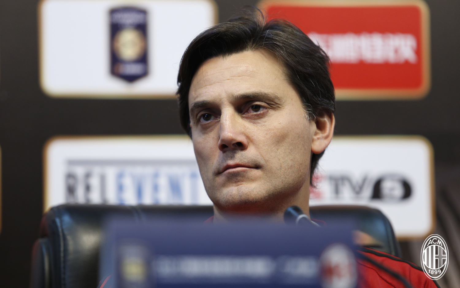 Foto LaPresse - Spada 15 Luglio 2017 - Guangzhou (Cina) A.C. Milan - Tournee Cina 2017 - Conferenza Stampa Montolivo e Montella Sport Calcio Nella foto: Montella Photo LaPresse - Spada July 15, 2017 Guangzhou (China) Sport Soccer A.C. Milan -China Tournee 2017 - Press Conference Head Coach Montella and Montolivo In the pic: Montella