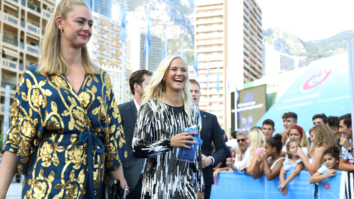 MONACO, MONACO - August 24: UEFA Women's Player of the Year Award nominee Pernille Harder (R) arrives ahead of the UEFA ECF Season Kick Off 2017/18 on August 24, 2017 in Monaco, Monaco. (Photo by Christopher Lee - UEFA/UEFA via Getty Images)